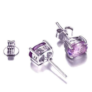 Feshionn IOBI Earrings Amethyst Oval Cut 1.4CTW IOBI Precious Gems Stud Earrings