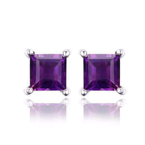 Feshionn IOBI Earrings Amethyst Royal Purple Princess Cut 0.5 CT Genuine Amethyst IOBI Precious Gems Stud Earrings