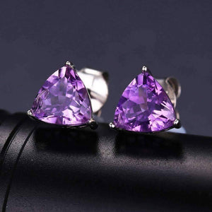 Feshionn IOBI Earrings Amethyst Trillion Cut 1.4CT IOBI Precious Gems Stud Earrings