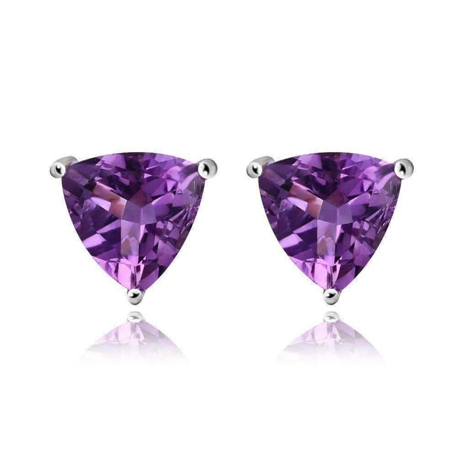 Feshionn IOBI Earrings Amethyst Earrings Amethyst Trillion Cut 1.4CT IOBI Precious Gems Stud Earrings