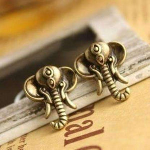 Feshionn IOBI Earrings Antique Bronze Antique Bronze Royal Elephant Head Stud Earrings