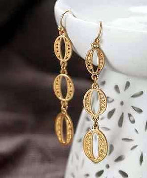 Feshionn IOBI Earrings Antique Gold Antiqued Gold Oval Coin Link Dangling Earrings