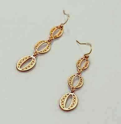 Feshionn IOBI Earrings Antiqued Gold Oval Coin Link Dangling Earrings