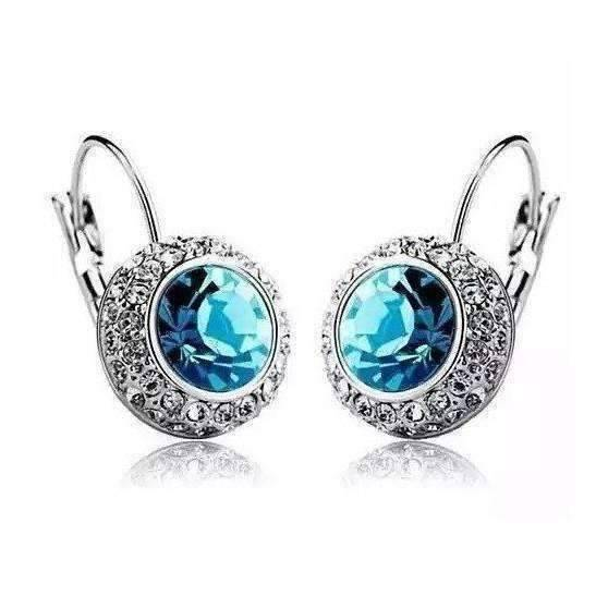 Feshionn IOBI Earrings Aqua Aqua Blue on White Gold Bezel Set IOBI Crystals earrings