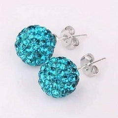 Feshionn IOBI Earrings Aqua Blue Shamballa Aqua Blue Crystals on 925 Silver Stud Earrings