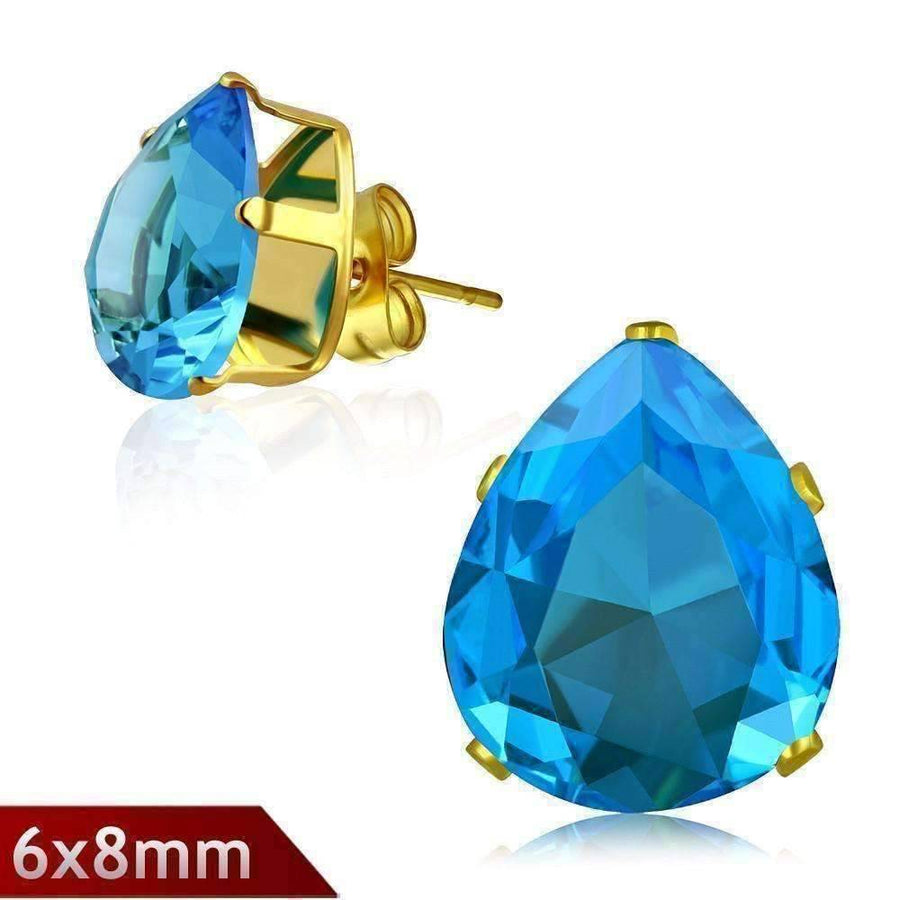 Feshionn IOBI Earrings Aqua CLEARANCE - Sea Droplet Aqua Blue Pear Shape 1.25ct CZ Stud Earrings