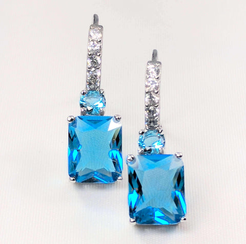 Feshionn IOBI Earrings Aqua Exquisite Emerald Cut 4CT Dangling CZ Earrings