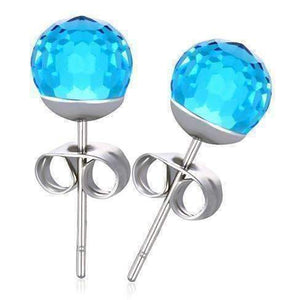 Feshionn IOBI Earrings Aqua Fab CLEARANCE - Disco Ball Faceted Crystal Stud Earrings - Eight Colors!