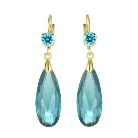 Feshionn IOBI Earrings Aqua Fascinating Long Teardrop Bead and CZ Dangle Earrings ~ Six Colors to Choose!