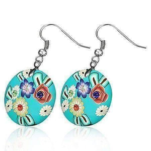 Feshionn IOBI Earrings Aqua Green Round Handcrafted Floral Cane Work Clay & CZ Earrings ~ Five Lively Colors to Choose From