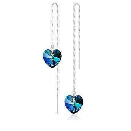 Feshionn IOBI Earrings Aqua ON SALE - Aqua Blue Austrian Crystal Heart Silver Thread Earrings