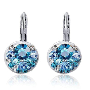 Feshionn IOBI Earrings Aqua Party Confetti Austrian Crystal White Gold Plated Leverback Earrings