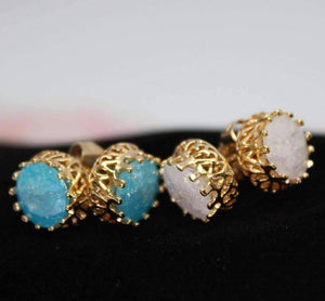 Feshionn IOBI Earrings Aqua Polished Druzy Quartz Gemstone Crown Set Stud Earrings - Your Choice of Color