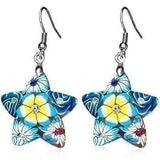 Feshionn IOBI Earrings Aqua Star Handcrafted Floral Cane Work Clay & CZ Earrings ~ Two Lively Colors to Choose From