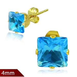 Feshionn IOBI Earrings Aqua Tiniest Princess Cut Aqua Blue 4mm CZ Stud Earrings