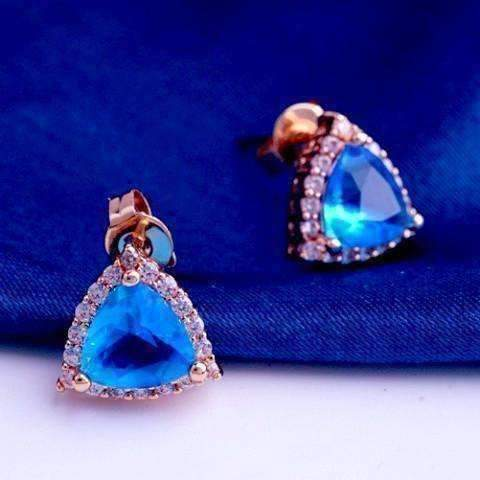 Feshionn IOBI Earrings Aqua Trillion Halo Zirconia Stud Earrings in 18K Rose Gold Plating