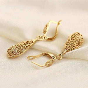Feshionn IOBI Earrings Arabesque Filigree Puff Teardrop Earrings