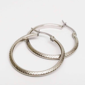 Feshionn IOBI Earrings Art Nouveau Etched Stainless Steel Hoop Earrings
