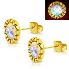 CLEARANCE - Aurora Borealis Glass Button Stud Stainless Steel Earrings