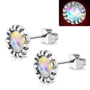 Feshionn IOBI Earrings Aurora / Stainless Steel ON SALE - Aurora Borealis Glass Button Stud Stainless Steel Earrings