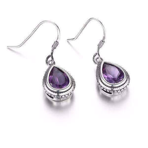 Feshionn IOBI Earrings Bezel Set Alexandrite Sapphire Pear 2.1CT IOBI Precious Gems Earrings