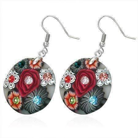 Feshionn IOBI Earrings Black and Red Round Handcrafted Floral Cane Work Clay & CZ Earrings ~ Five Lively Colors to Choose From