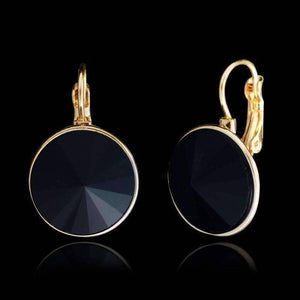 Feshionn IOBI Earrings black Obsidian Black Dome Austrian Crystal Leverback Earrings