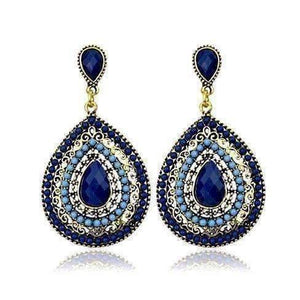 Feshionn IOBI Earrings Blue Beaded Filigree Drop Earrings in Blue