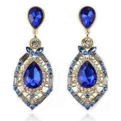 "Feshionn IOBI Earrings Blue ""Blue Alexandria"" Crystal Drop Earrings"