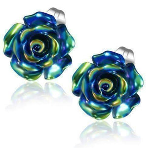 Feshionn IOBI Earrings Blue Blue Rose Stud Earrings