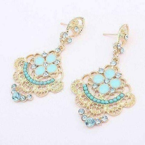 "Feshionn IOBI Earrings Blue ""Charlotte's Oceanside"" Aqua Chandelier Earrings"