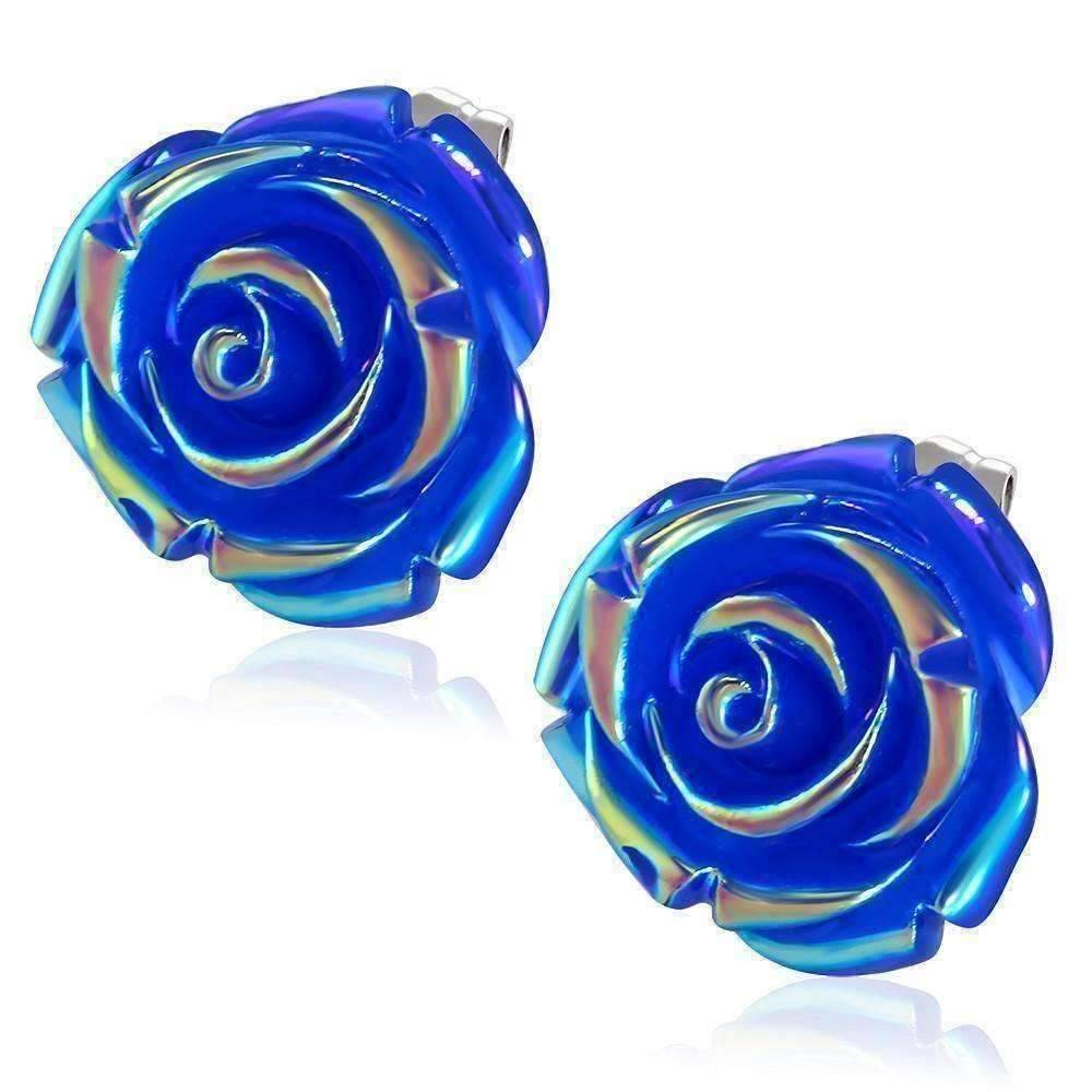 Large Blue Rose Stud Earrings Feshionn Iobi Express