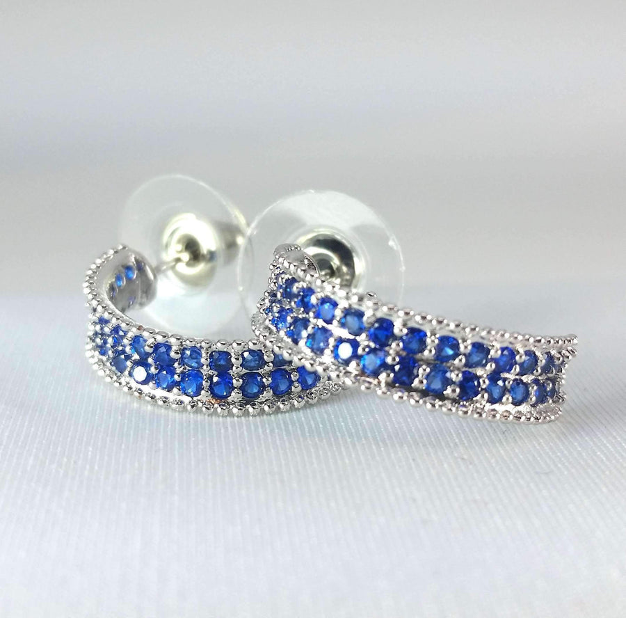 Blue Crystal Encrusted Half Hoop Earrings