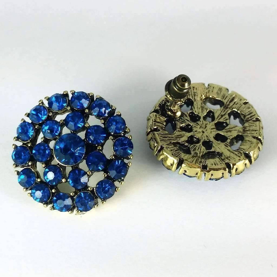 Feshionn IOBI Earrings Blue Blue Moon Large Round CZ Stud Earrings