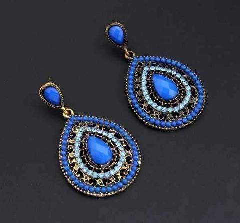 Feshionn IOBI Earrings Blue ON SALE - Dark Blue Bead and Crystal Filigree Drop Earrings