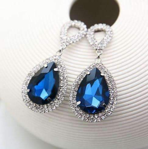 Feshionn IOBI Earrings Smokey Quartz ON SALE - Midnight Sapphire Blue Double Teardrop Stud Earrings