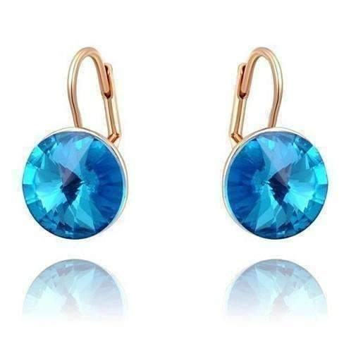 Feshionn IOBI Earrings Blue ON SALE - Oceanic Blue Austrian Crystal Leverback Earrings