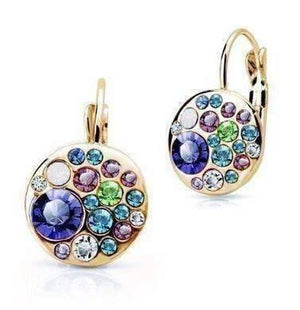 Feshionn IOBI Earrings Blue Party Confetti Austrian Crystal Rose Gold Plated Leverback Earrings