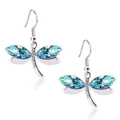 Feshionn IOBI Earrings Blue Winged Austrian Crystal Dragonfly Dangle Earrings