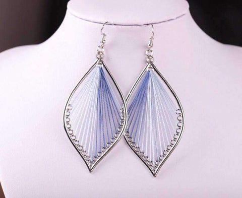 Feshionn IOBI Earrings Blues Global Beauty Silk Thread String Art Drop Earrings In Three Colors