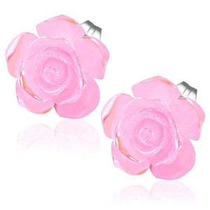 Feshionn IOBI Earrings Blushing Pink CLEARANCE - Large Shimmering Blushing Pink Rose Stud Earrings