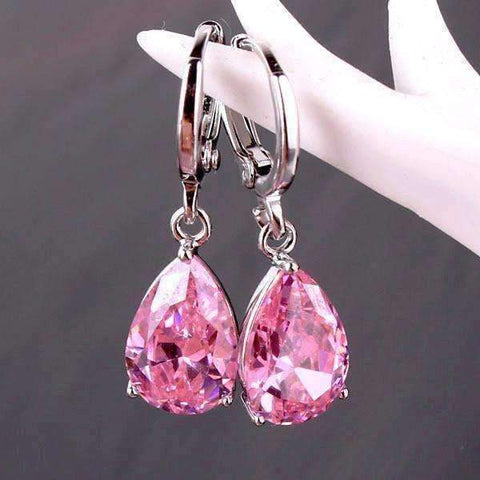 Feshionn IOBI Earrings Blushing Pink on Platinum plated ON SALE - Raindrop Diamond Dust Infused Dangling Earrings in Diamond White or Blushing Pink