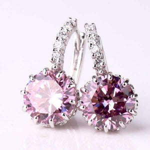 Feshionn IOBI Earrings Blushing Pink on White Gold Exotic Gems CZ Solitaire Hoop Earrings