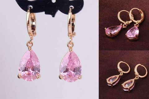 Feshionn IOBI Earrings Blushing Pink on Yellow gold plating ON SALE - Raindrop Diamond Dust Infused Dangling Earrings in Diamond White or Blushing Pink