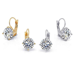 Feshionn IOBI Earrings Bold 7 CTW Solitaire Leverback Earrings in Yellow, Rose or White Gold