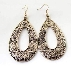 Feshionn IOBI Earrings Brass Antique Shop Hollow Teardrop Earrings