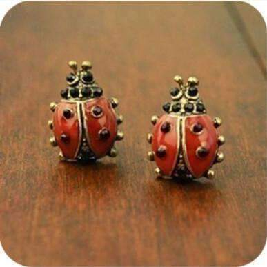 Feshionn IOBI Earrings Brass Love Lady Bug Earrings