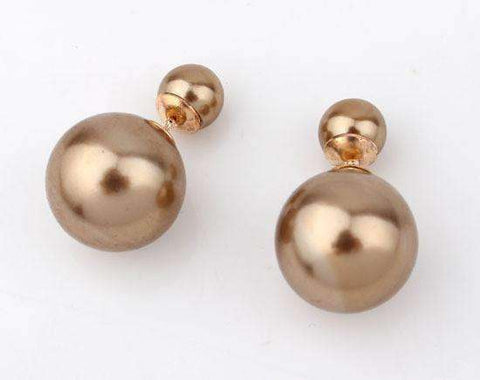 Feshionn IOBI Earrings Bronze Bowling Pin Reversible Pearl Earrings - Five Colors to Choose!