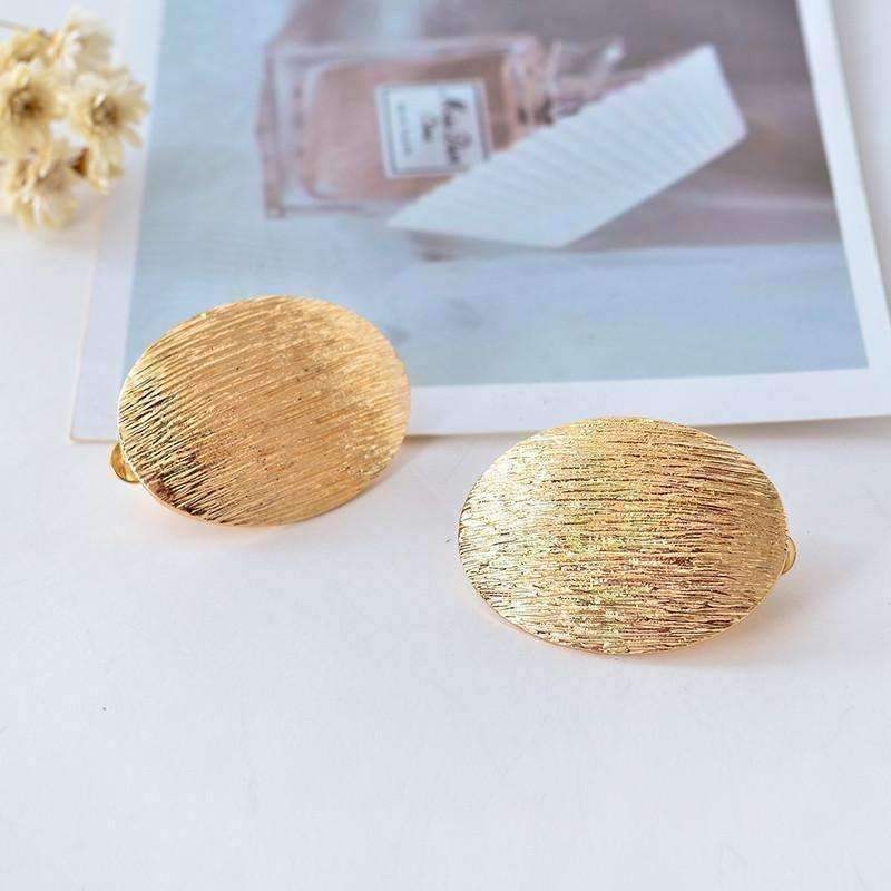 Feshionn IOBI Earrings Brushed Gold Oval Disk Clip-On Earrings