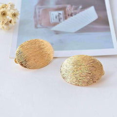 Brushed Gold Oval Disk Clip-On Earrings